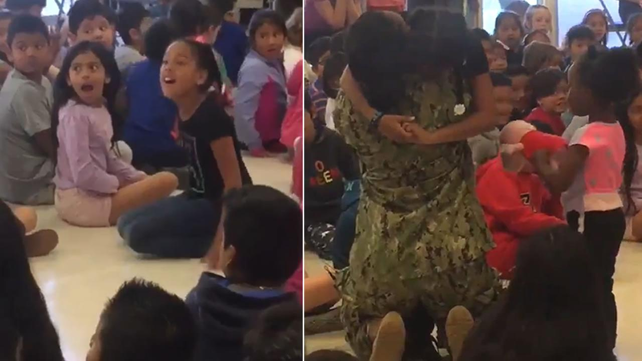 Star Bailey surprised her daughter Liliana at Laurel Dell Elementary School in San Rafael on Monday, June 11, 2018.
