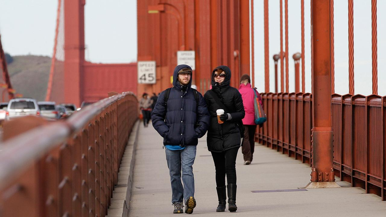 FILE -- Shane Uris, left, and Danica Horton, both from Davie, Fla., walk across the Golden Gate Bridge in San Francisco, Monday, Jan. 10, 2011.