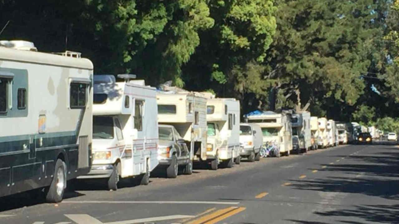 RVs are seen parked along a street in Mountain View, Calif. on Tuesday, June 12, 2018.