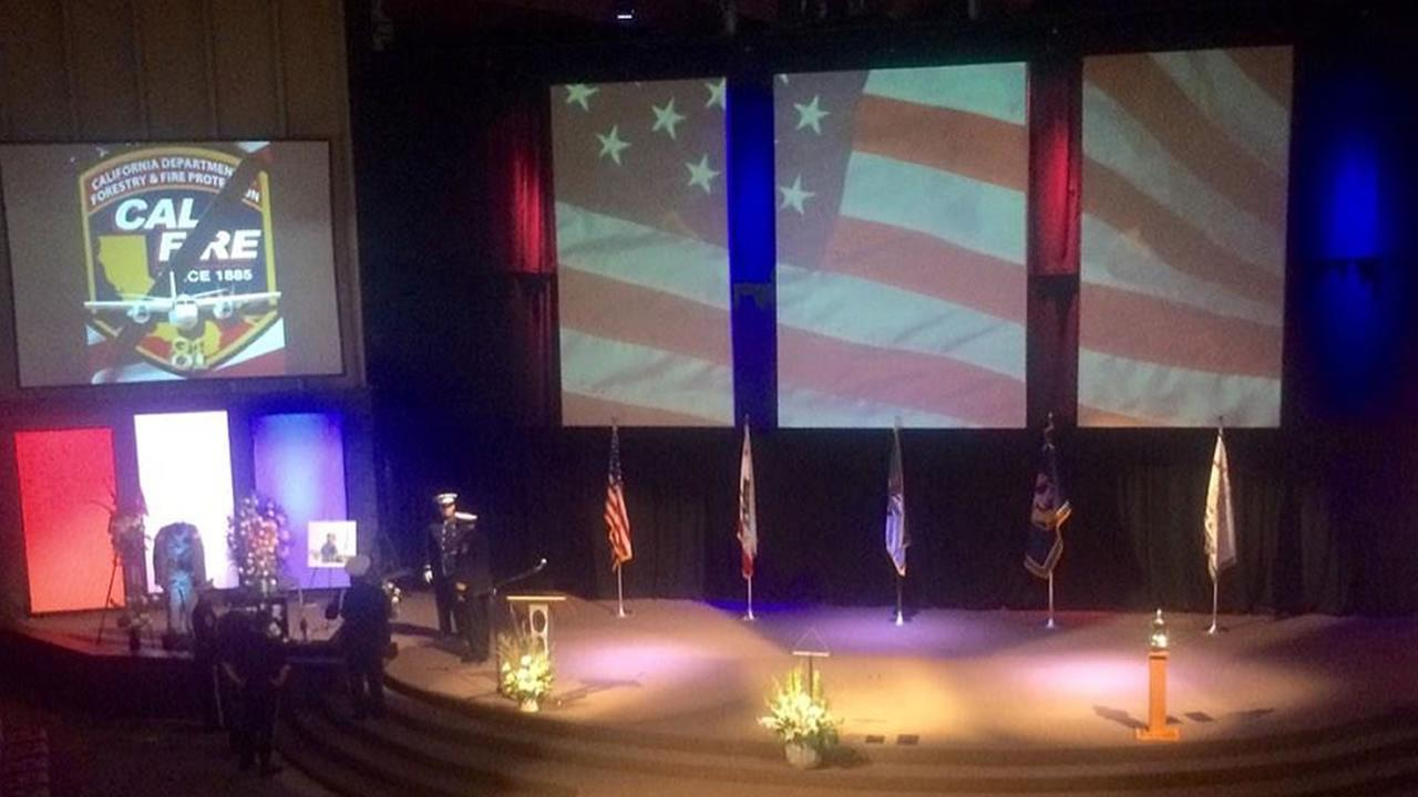 Memorial service at Church on the Hill in San Jose for CAL FIRE pilot Geoffrey Craig Hunt killed in the line of duty.