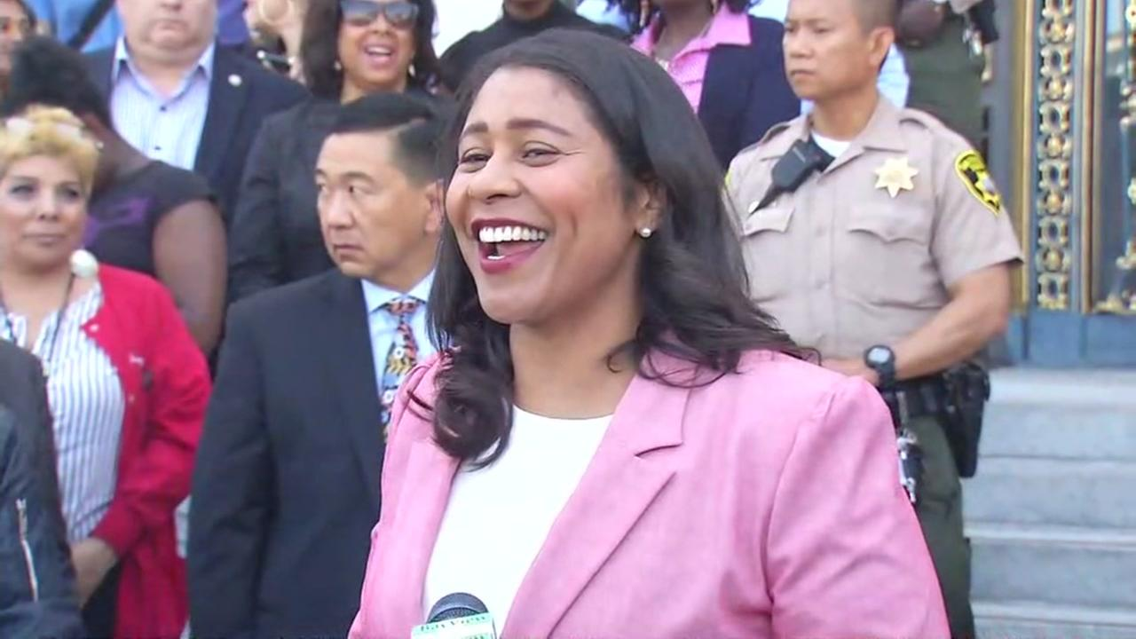 London Breed talks to reporters on Wednesday, June 13, 2018 in San Francisco.