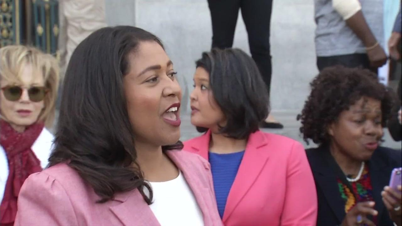 London Breed speaks to supporters after the latest round of numbers came in for her mayoral run on Wednesday, June 13, 2018.