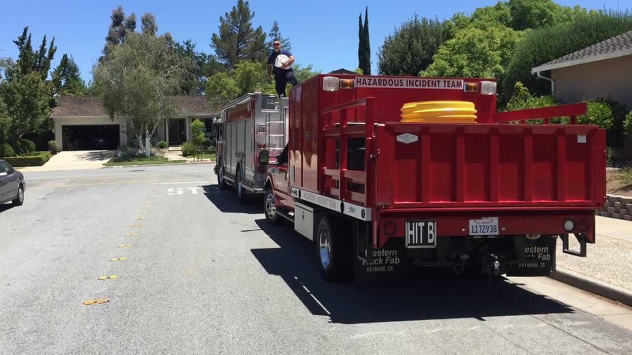 Firefighters are on the scene of a hazmat situation in San Jose, Calif. on Thursday, June 14, 2018.