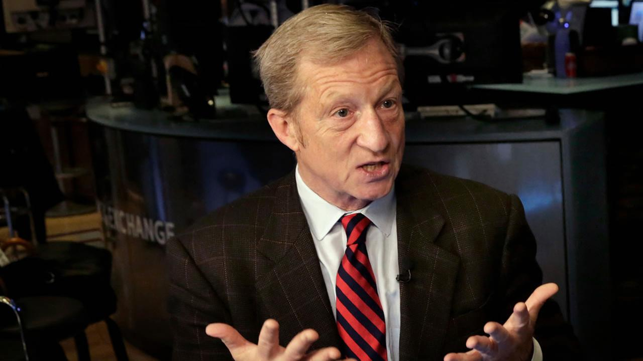 Tom Steyer is interviewed on Cheddar on the floor of the New York Stock Exchange, Monday, April 2, 2018.