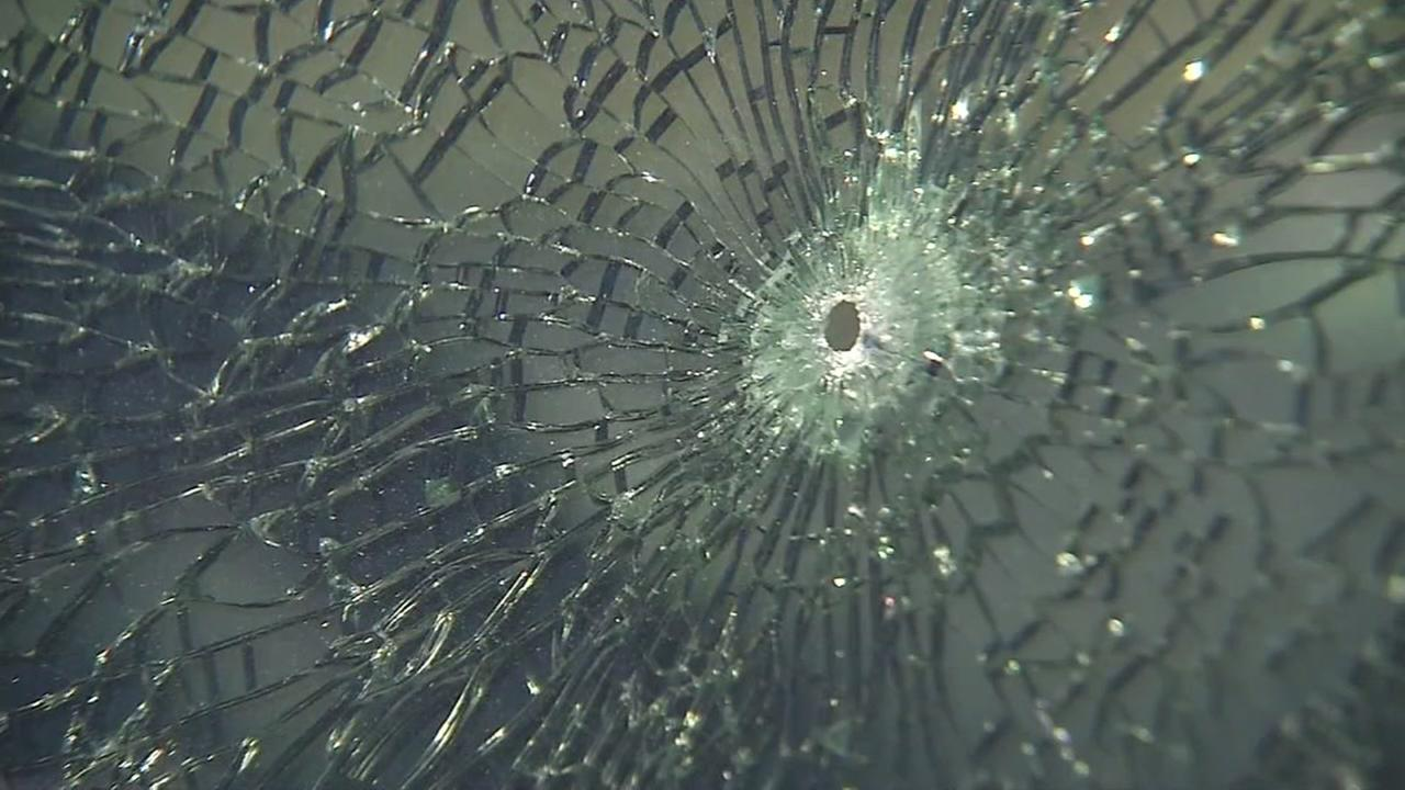 A BB gun bullet hole appears in an American Canyon, Calif. vehicle on Friday, June 15, 2018.