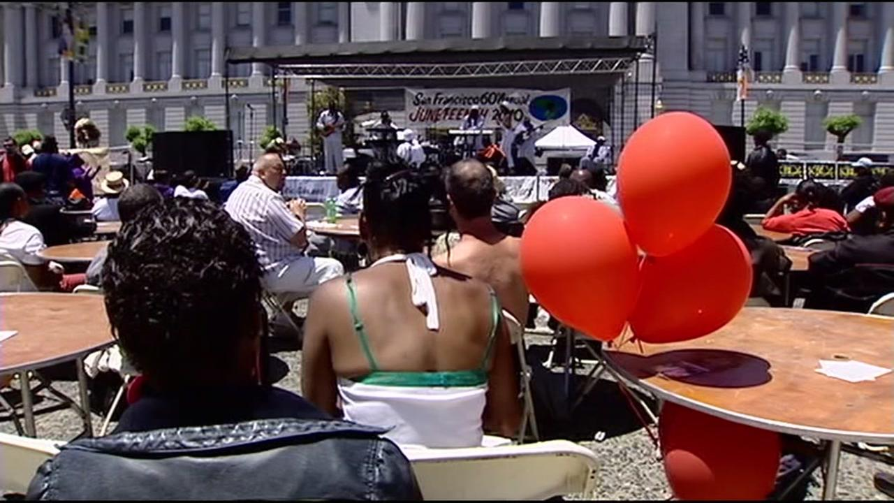 This undated image shows attendees at San Francsicos annual Juneteenth Festival.