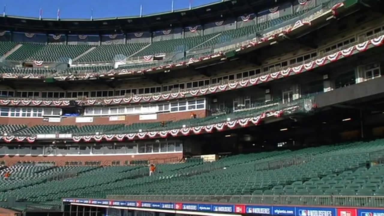 AT&T Park readied for Game 3 of the World Series.
