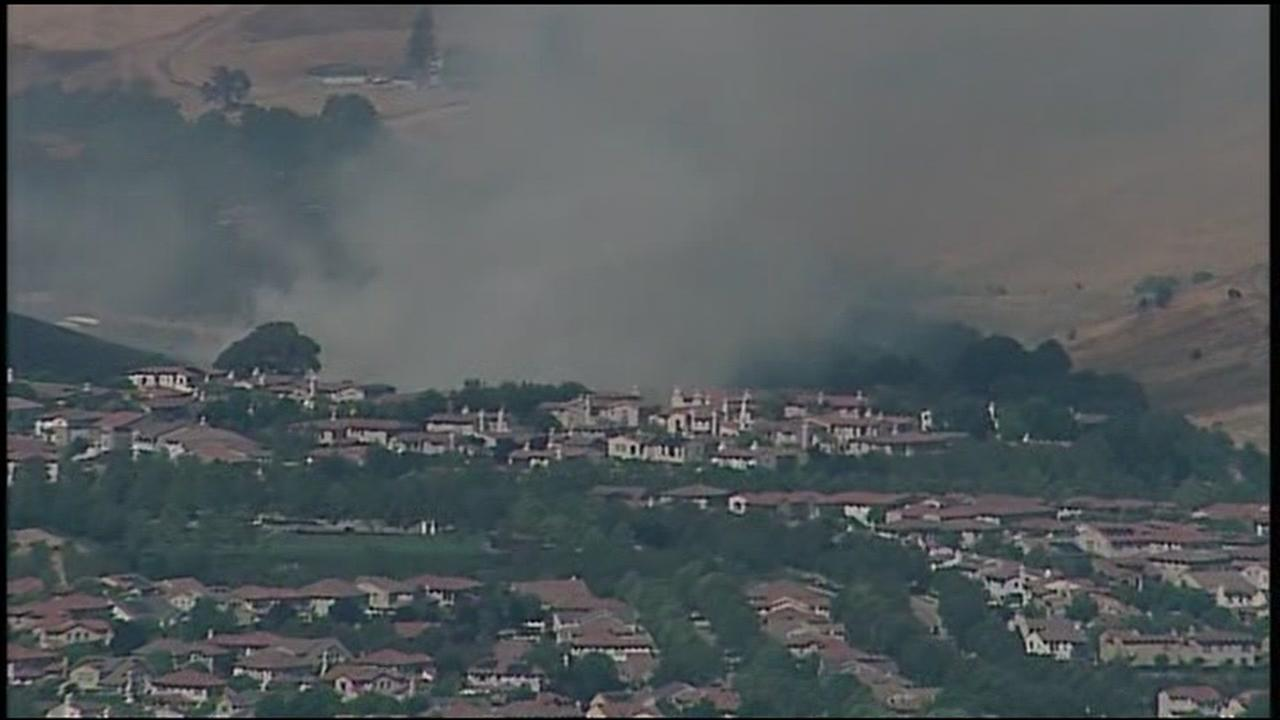 SKY7 is over a grass fire burning in San Ramon, Calif. on Tuesday, June 19, 2018.