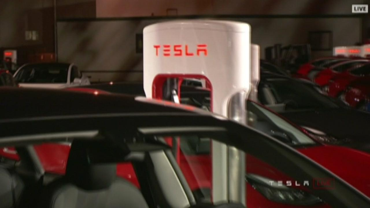 This is an undated image of a Tesla charging station.