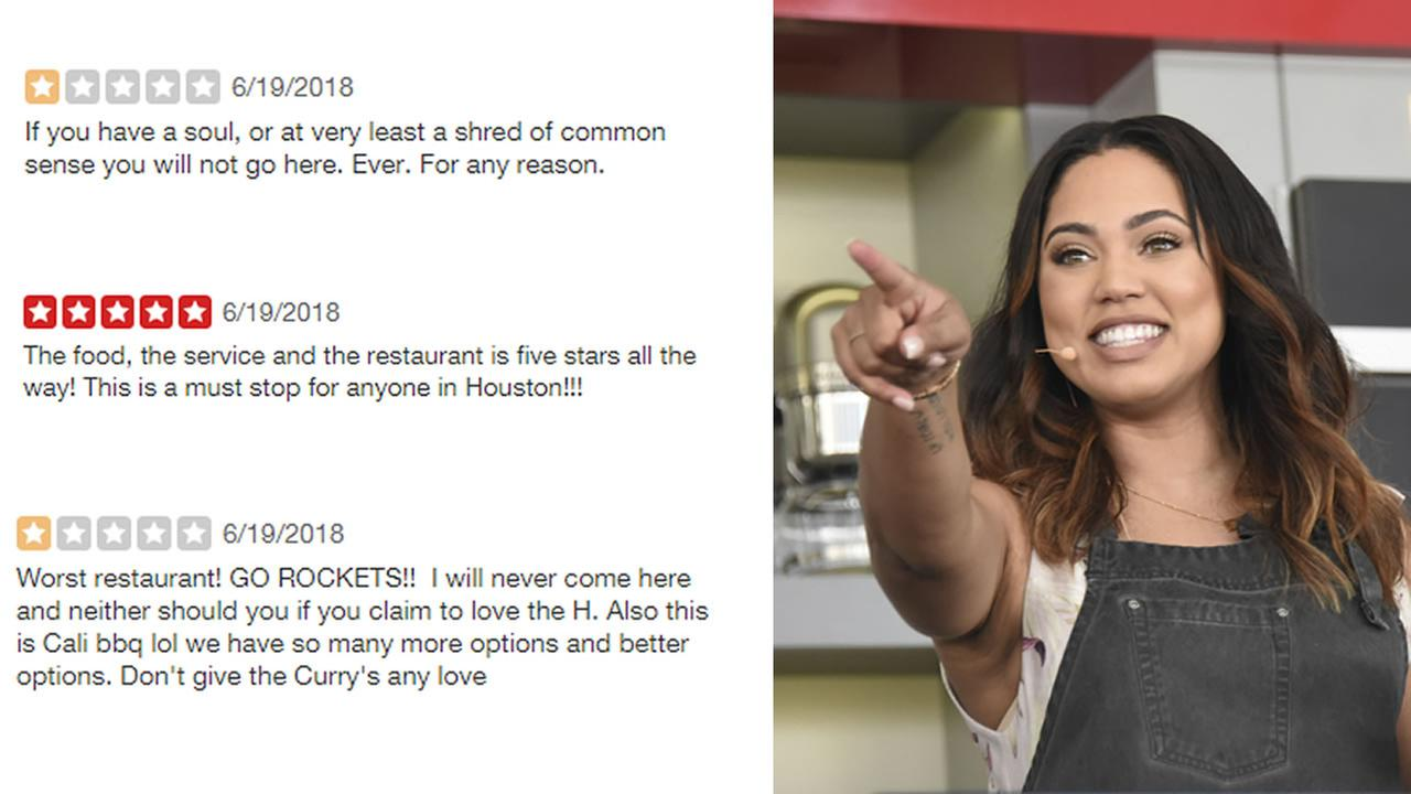 Ayesha Curry appears alongside Yelp reviews for the not yet open Houston location of her restaurant International Smoke.