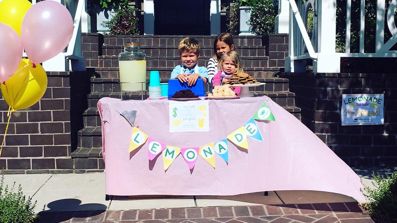 Julie Haags family set up a lemonade stand in Corte Madera and raised $200 for the San Francisco Marin Food Bank as part of a new food bank fundraising campaign.