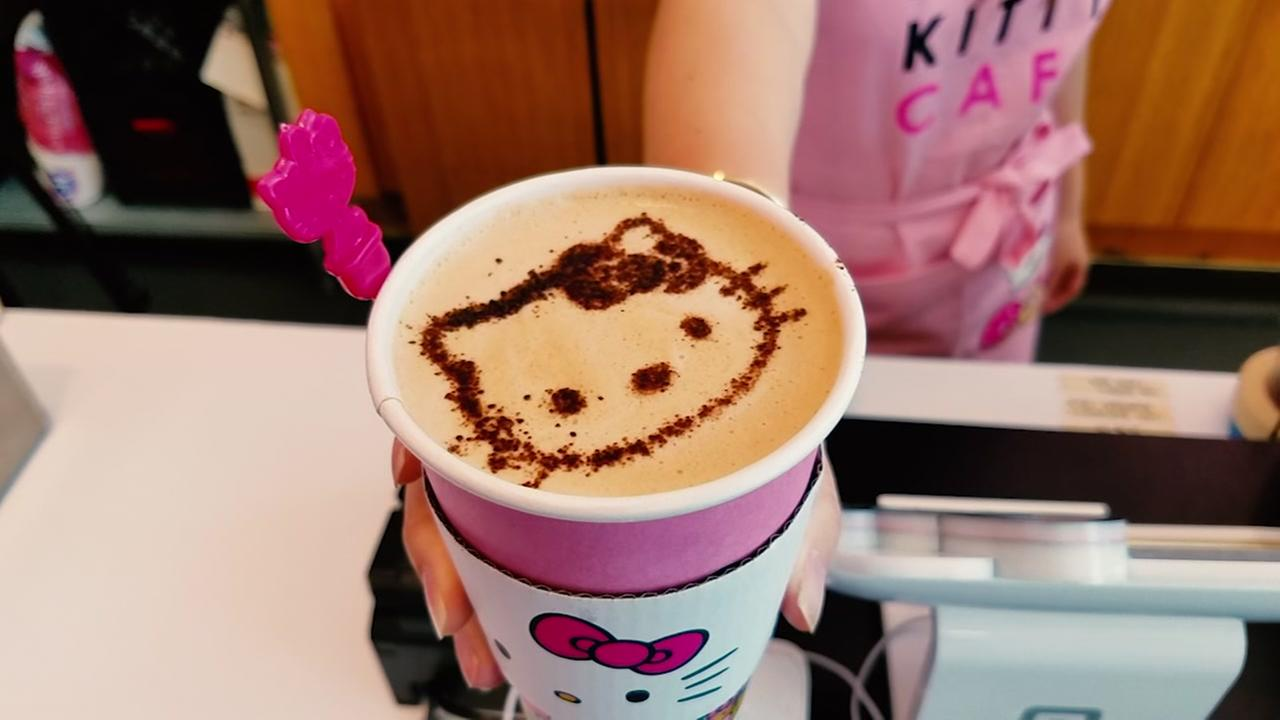 Even the coffees have a Hello Kitty image at the Hello Kitty Mini Cafe in San Jose, Calif.