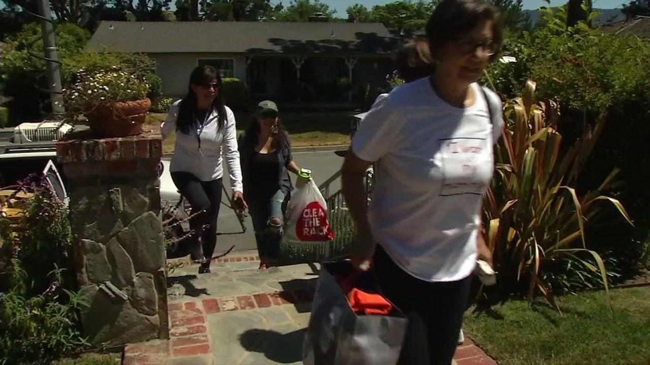 Volunteers work to get supplies for immigrants in San Francisco on Thursday, June 21, 2018.