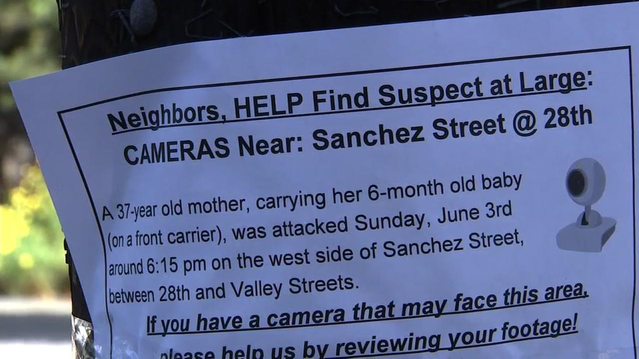 A flyer appears in Noe Valley in San Francisco after an attack on a young mother.