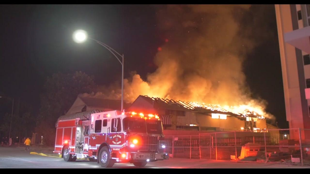 Fire at vacant building in San Jose, California on Friday, June 22, 2018.