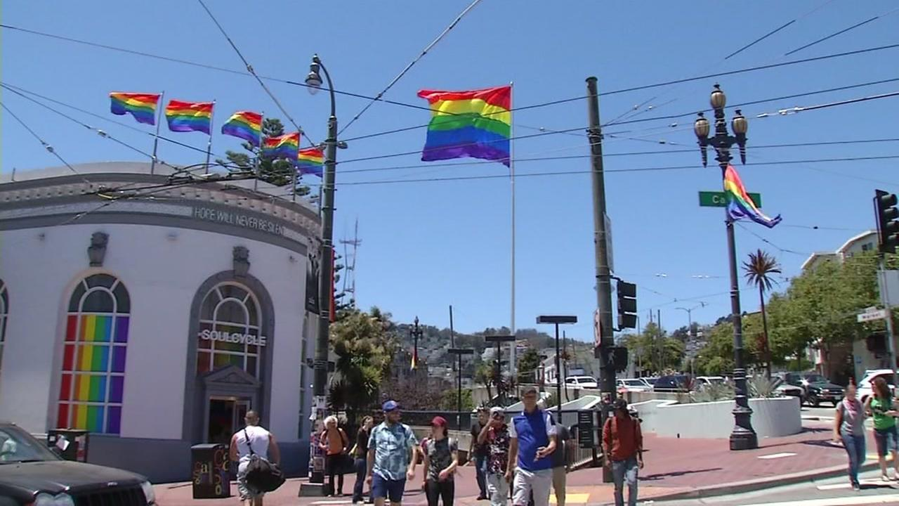 Gay pride flags fly high in San Franciscos Castro District on Friday, June 22, 2018.