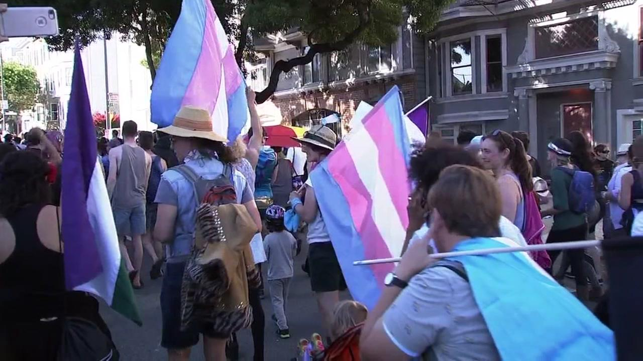 Marchers proudly carry the Trans flag at a San Francisco pride march on Friday, June 22, 2018.