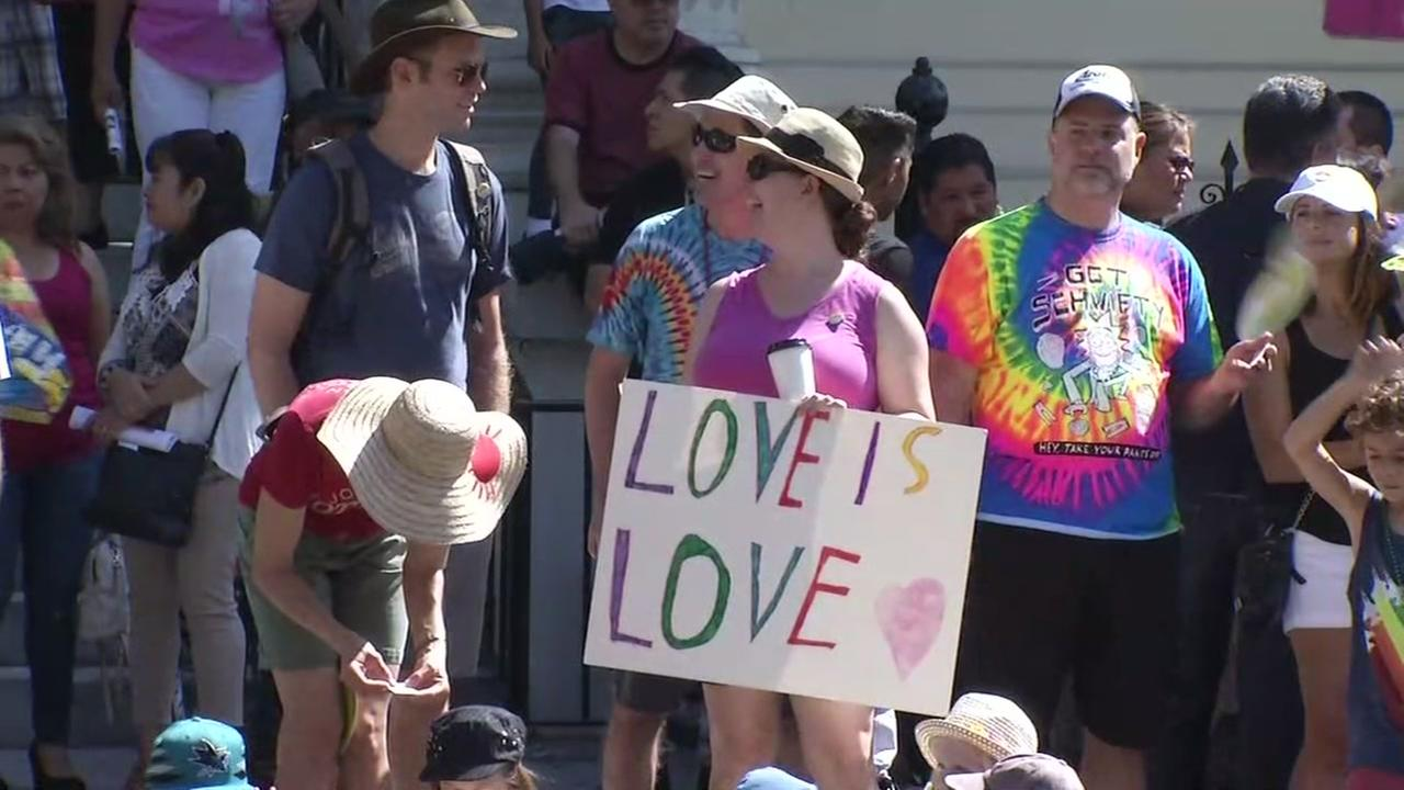 Pride attendees celebrate in San Francisco on Sunday, June 24, 2018.