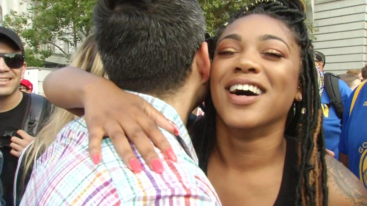 Jazmyn McKineey hugs ABC7 News reporter Carlos Saucedo after coming out at Pride on Sunday, June 24, 2018.