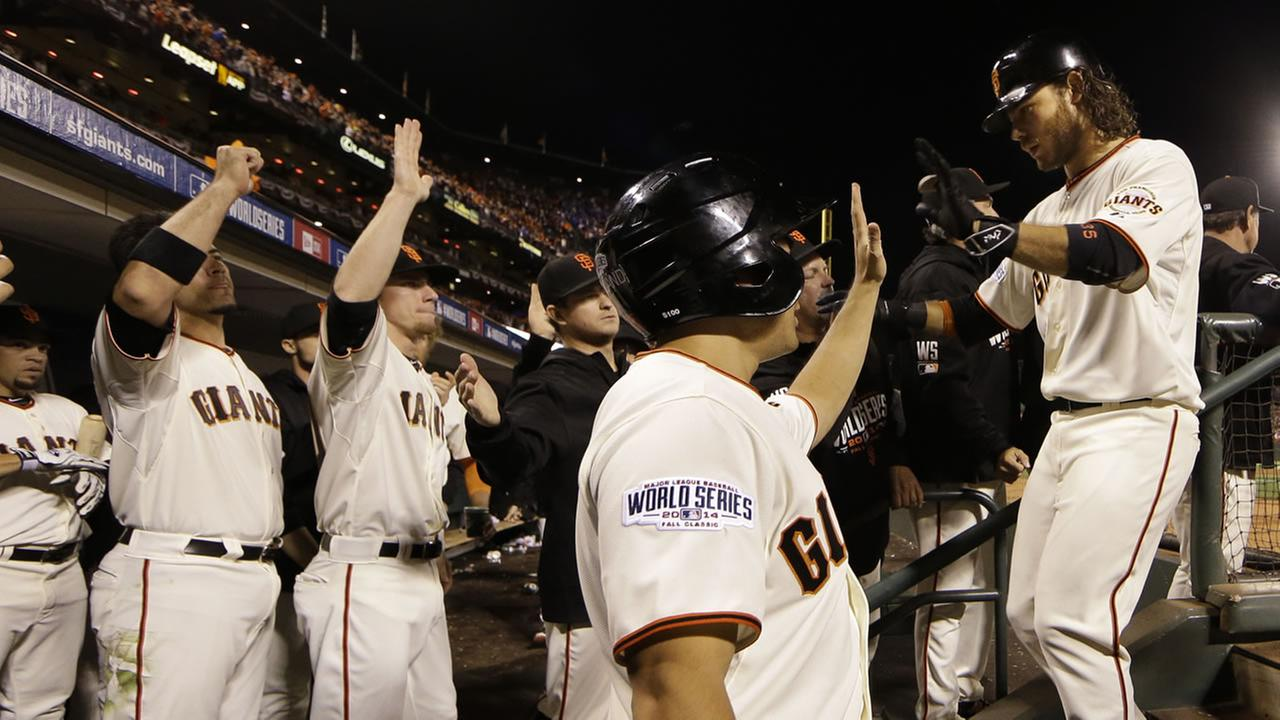 Brandon Crawford cheered on by team