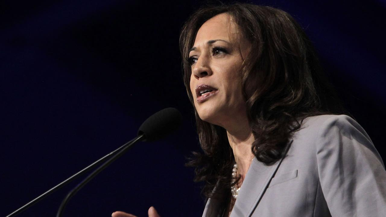 Attorney General Kamala Harris speaks before delegates to the 2013 Democratic Party state convention in Sacramento, Calif., Saturday, April 13, 2013. (AP Photo/Rich Pedroncelli)