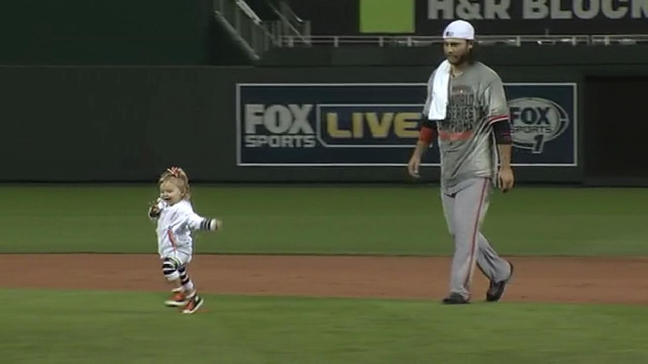 San Francisco Giants shortstop Brandon Crawford and his daughter.