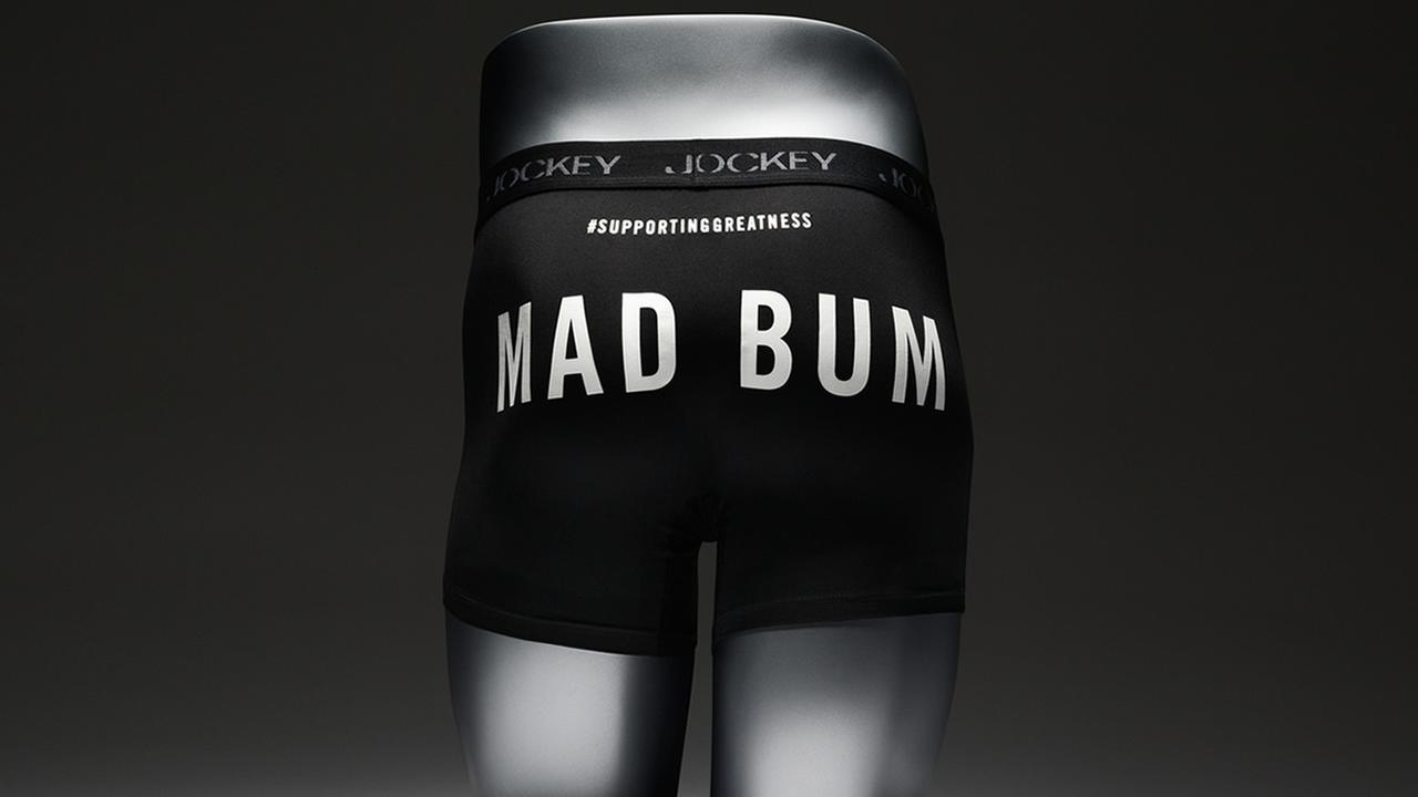 Jockey celebrates San Francisco Giants World Series win with MadBum underwear.