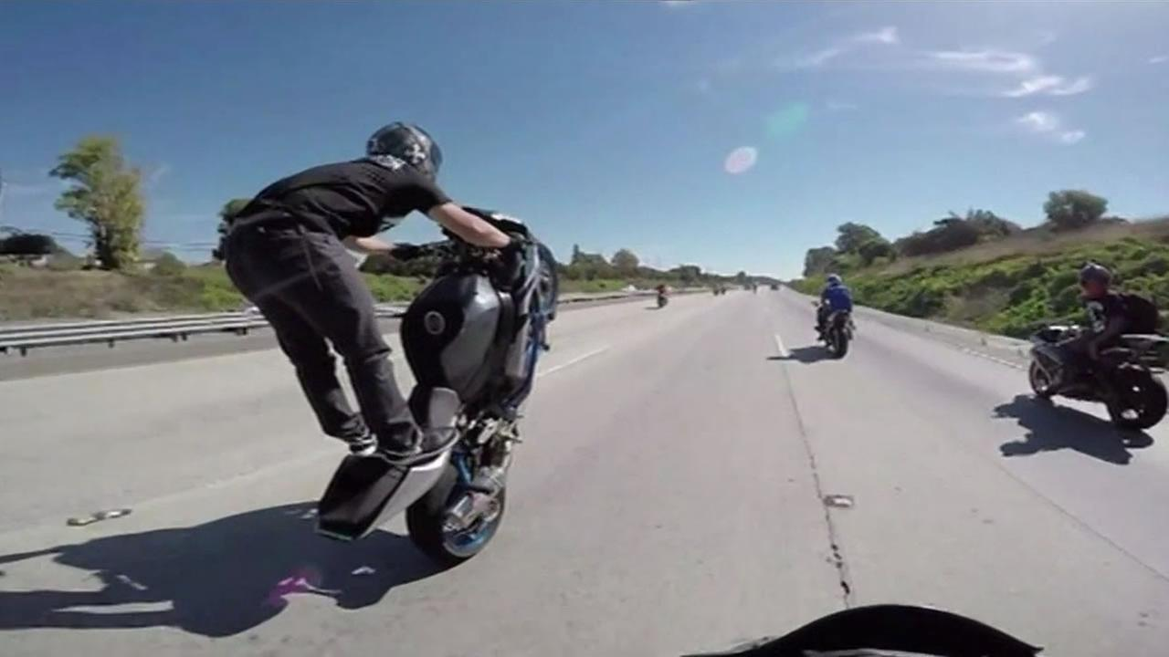 A CHP officer was taunted by a group of bikers who were performing stunts on I-680 in October.