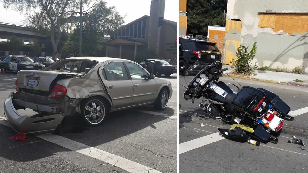 A CHP officer on a motorcycle was hit by a sedan during a pursuit in Oakland.