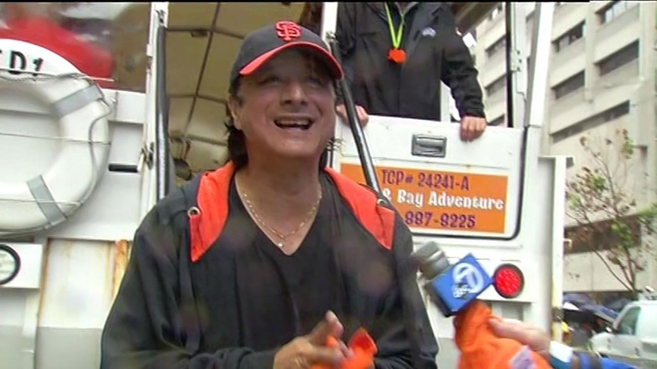 Steve Perry celebrating during the San Francisco Giants 2014 Victory Parade in San Francisco, October 31, 2014. (ABC7 News)