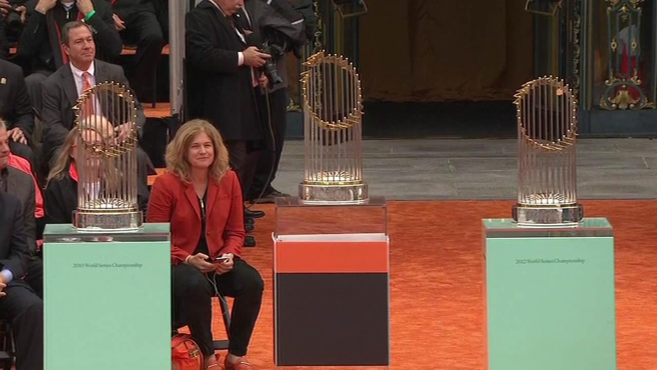 Three World Series trophies.