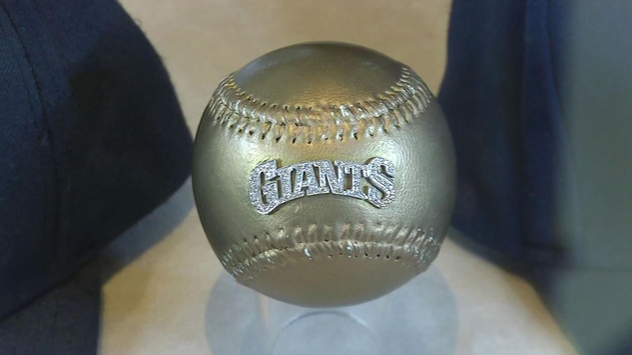 Giants fans think World Series MVP Madison Bumgarner deserves this diamond studded gold baseball made by jeweler Sidney Mobell.