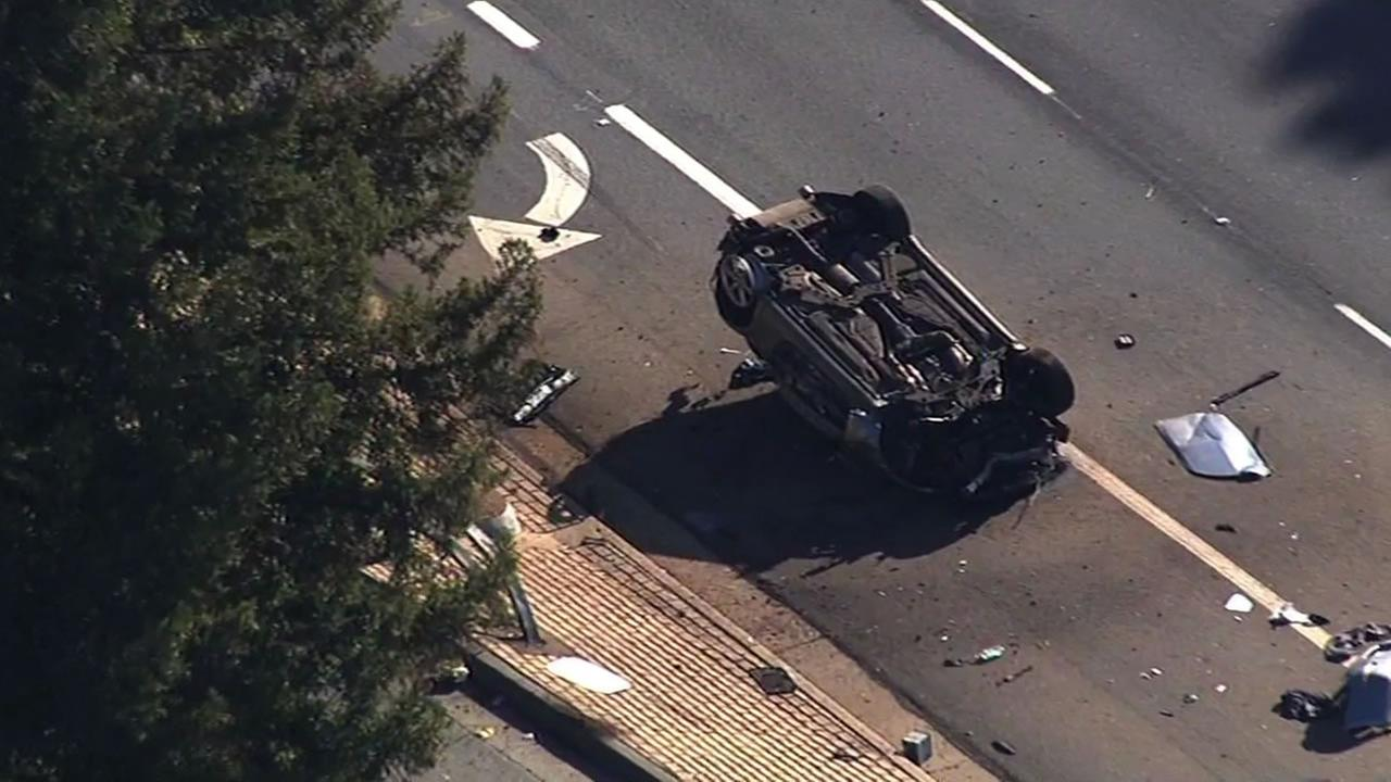 Police are investigating a fatal solo accident in San Jose that left a car overturned on Hillsdale Avenue Tuesday morning.