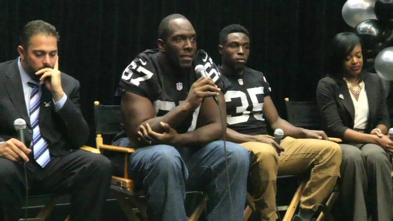 Oakland Raiders players and executives talk to Bay Area high school students.