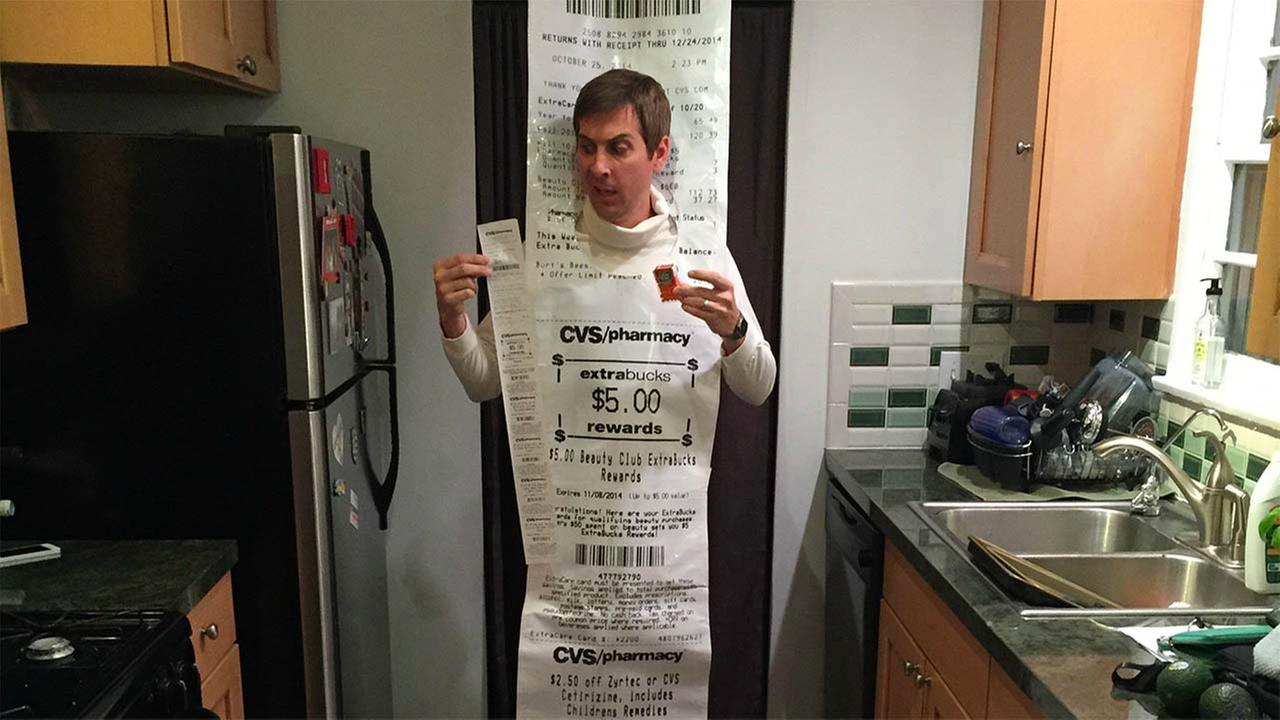 John Baker made a 12-foot-long costume making fun of ridiculously long CVS receipts.