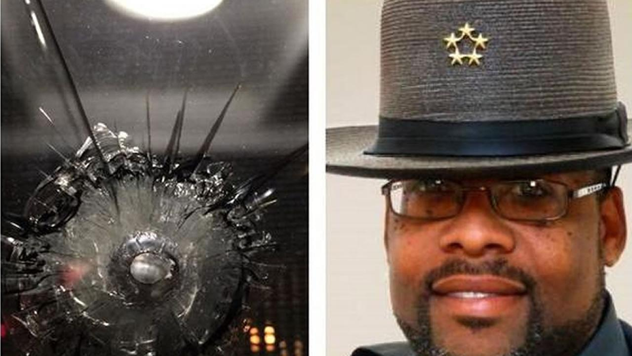 shooting victim and bullet hole in glass