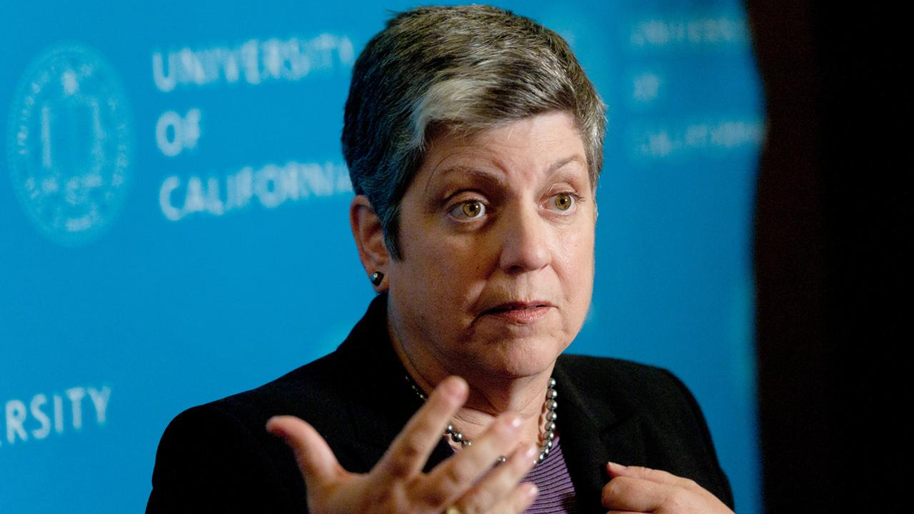 Janet Napolitano, president of the University of California, speaks with reporters after speaking at a Commonwealth Club gathering on Wednesday, Oct. 30, 2013, in San Francisco.