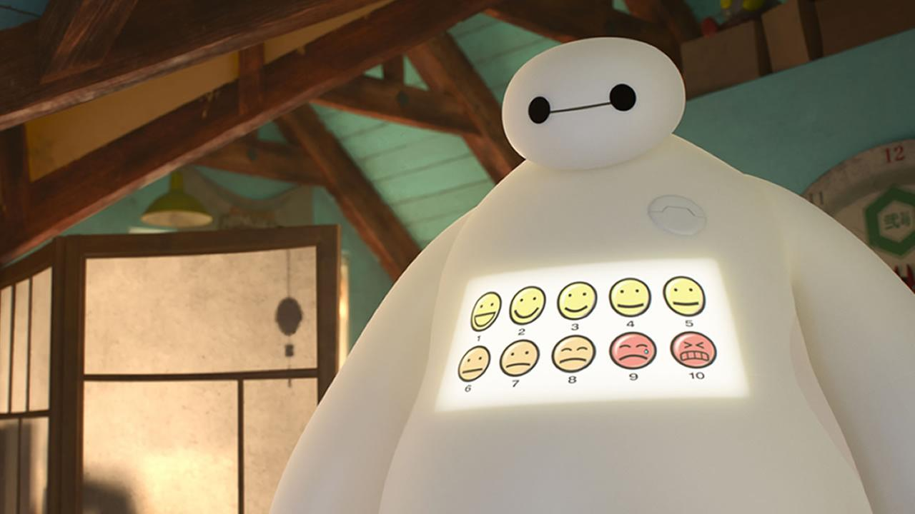 Animated character Baymax, in a scene from Big Hero 6.