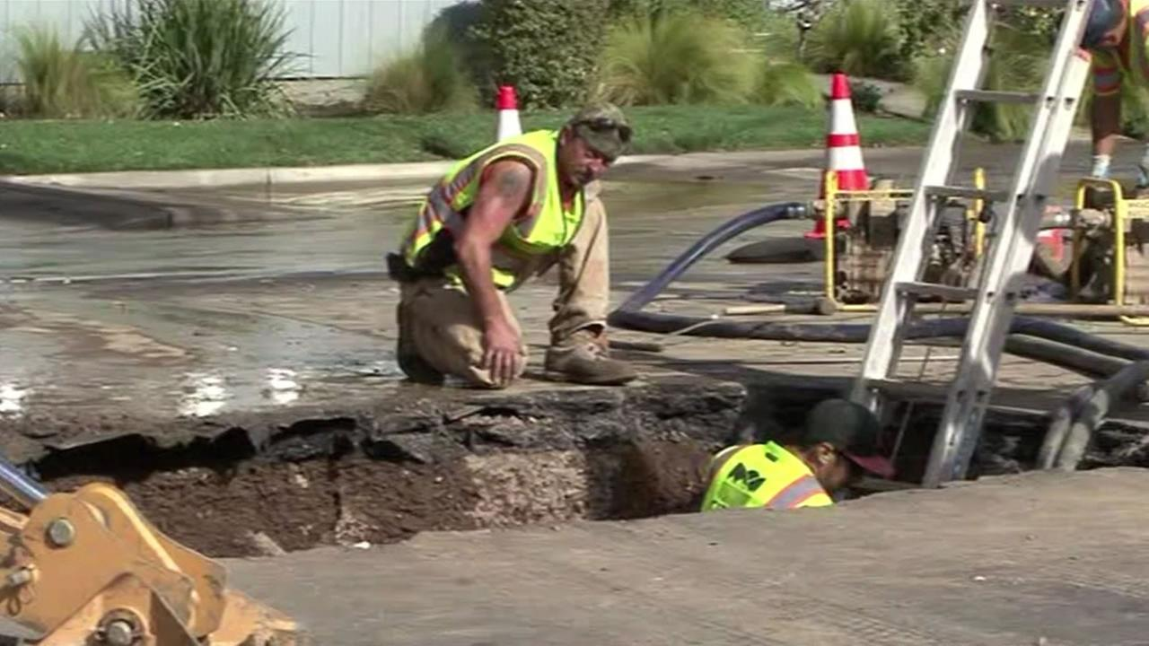 Crews in Napa are repairing a broken water main on Browns Valley Road.