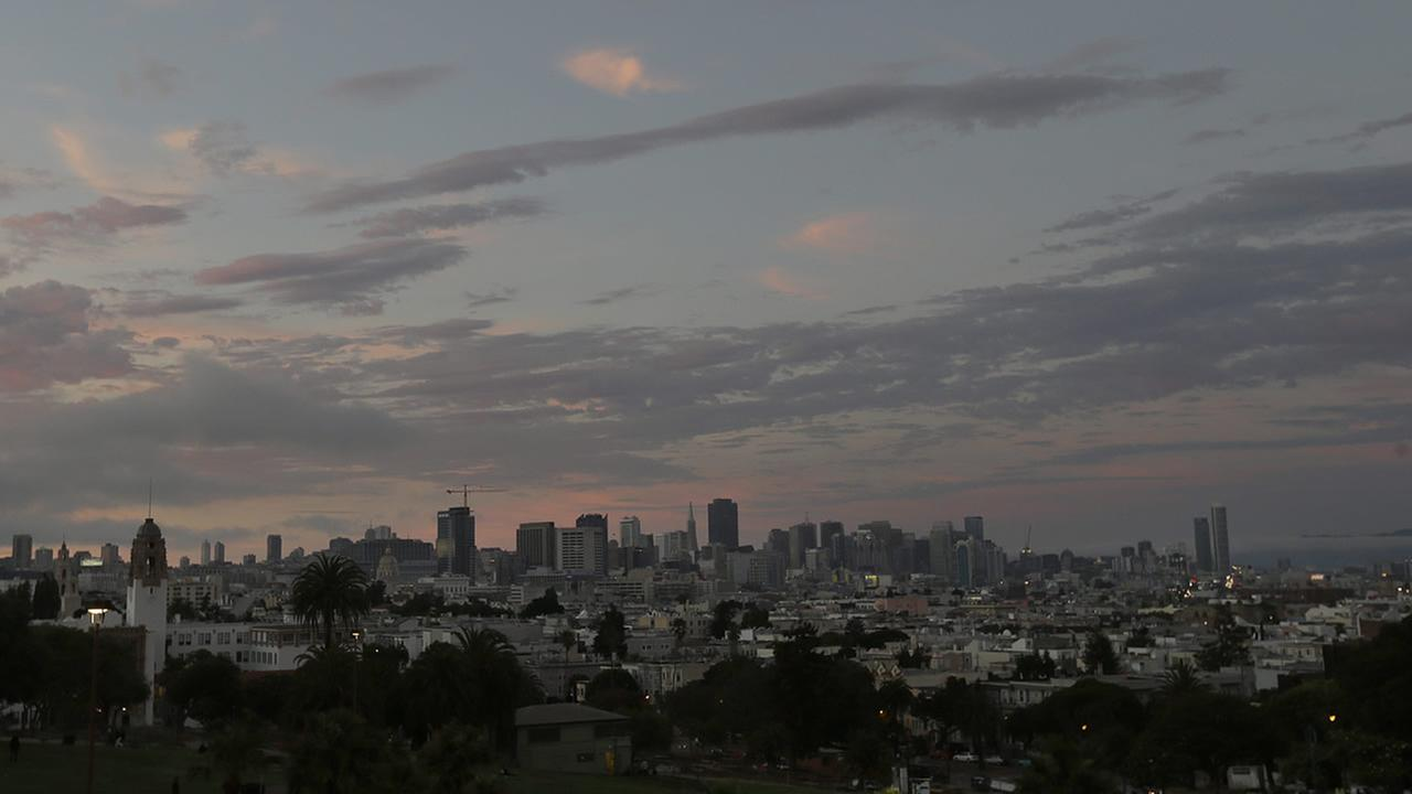 The San Francisco skyline is seen from Dolores Park in San Francisco, Monday, July 28, 2014. (AP Photo/Jeff Chiu)