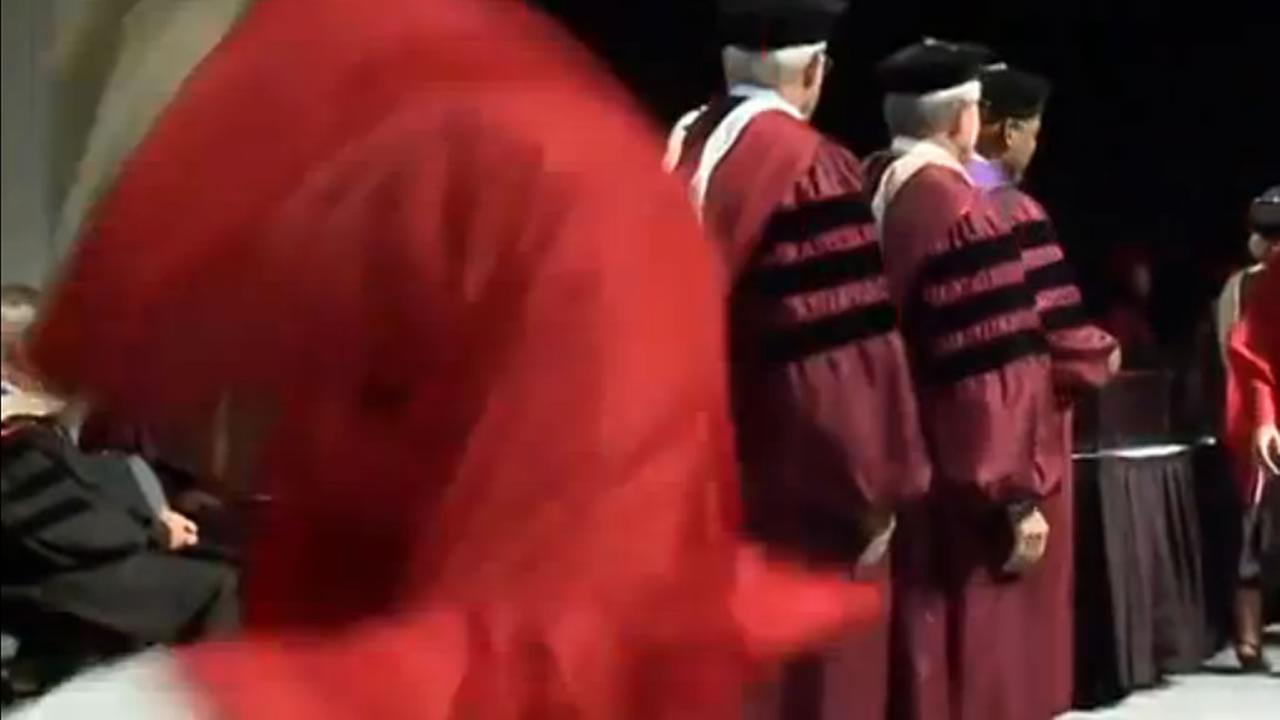 A stunt by a graduating senior at Davenport University in Michigan didnt go quite as planned.