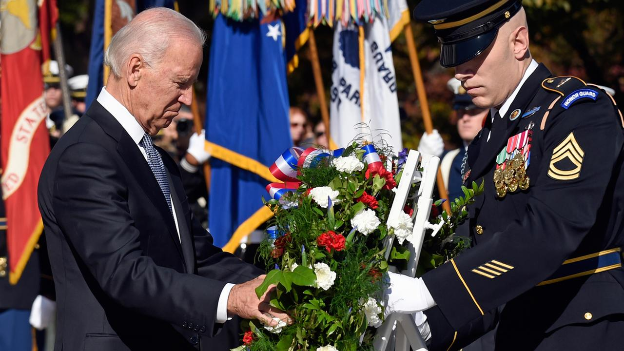 Vice President Joe Biden lays a wreath at the Tomb of the Unknowns, Tuesday, Nov. 11, 2014, at Arlington National Cemetery in Arlington, Va. in honor of Veterans Day.