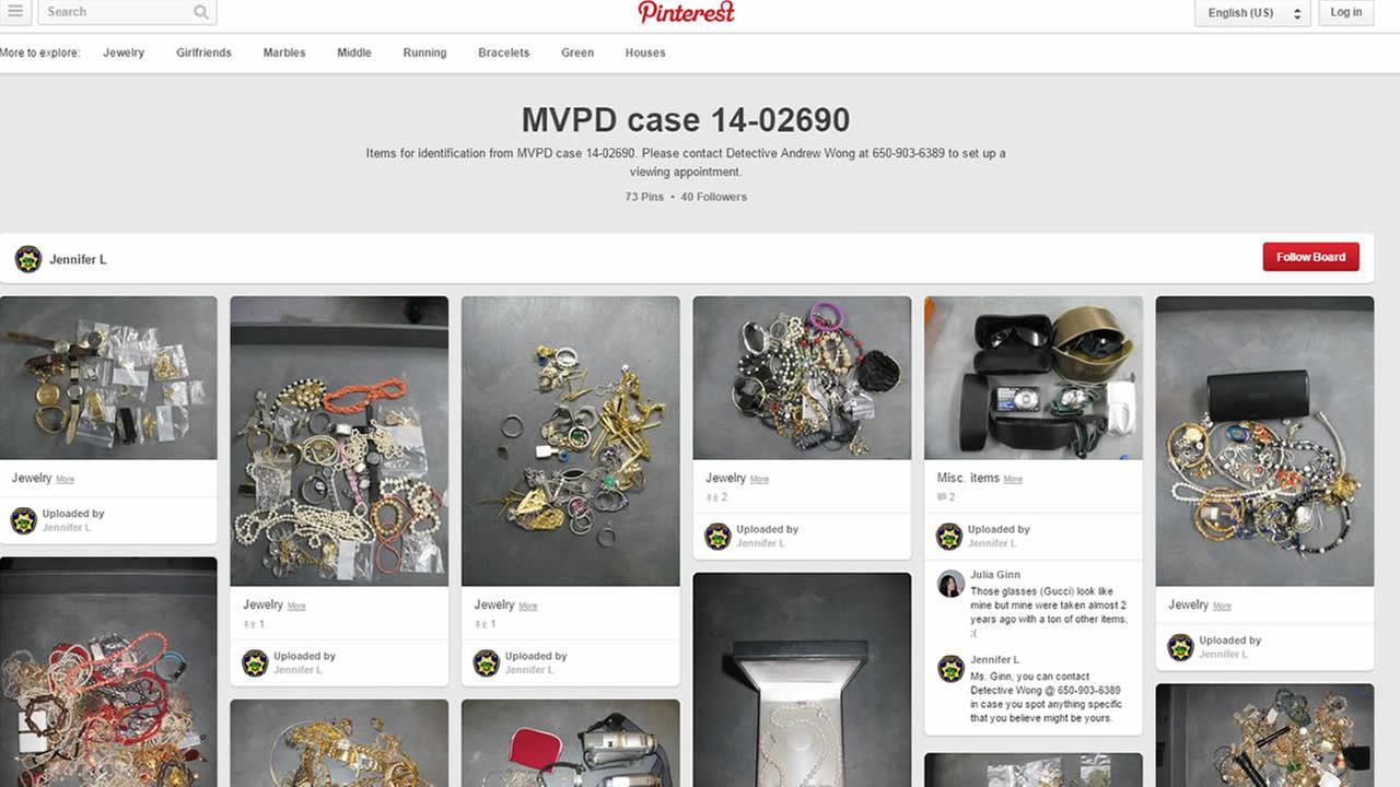 Mountain View police post photos on Pinterest of thousands of dollars of stolen jewelry found in the home of burglary suspects.
