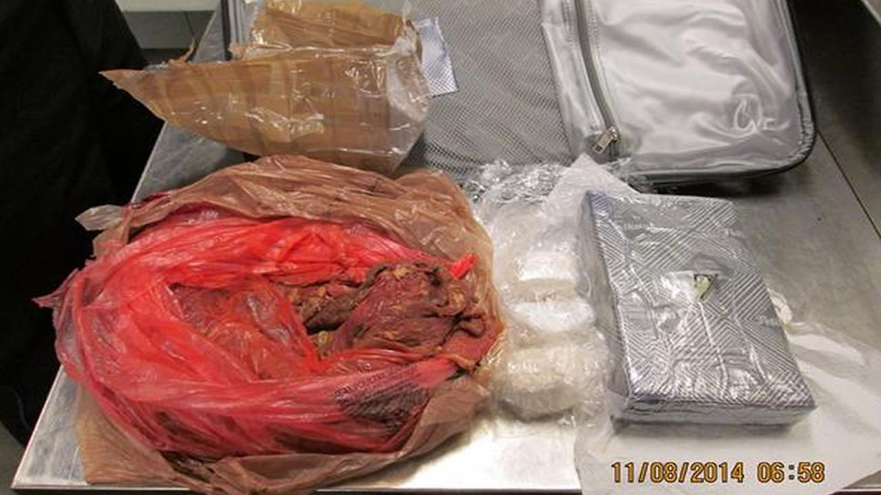 3 lbs. of cocaine and a bag of meat