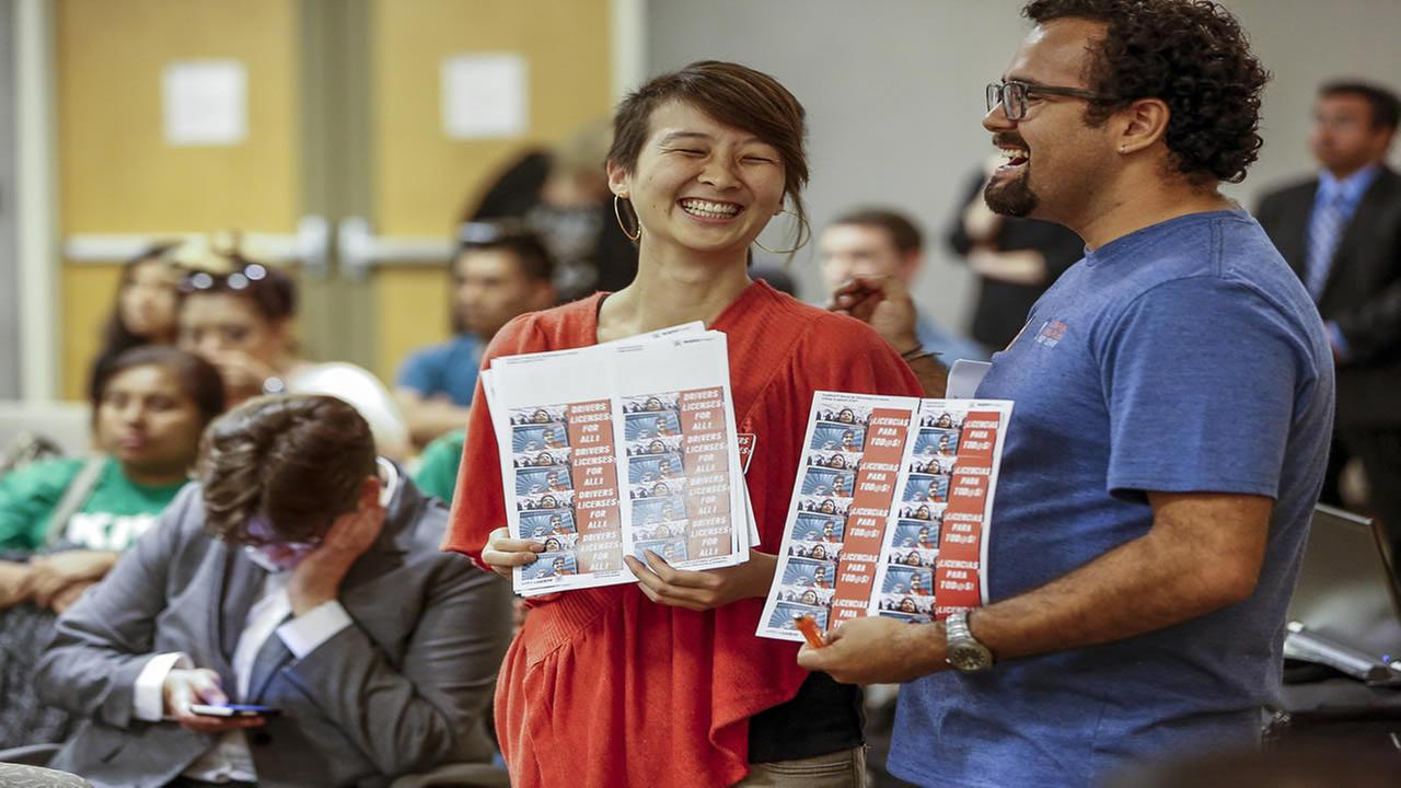 Community organizers during a California DMV hearing in downtown Los Angeles on Tuesday, June 24, 2014 to take public comments allowing immigrants to get drivers license. (AP)