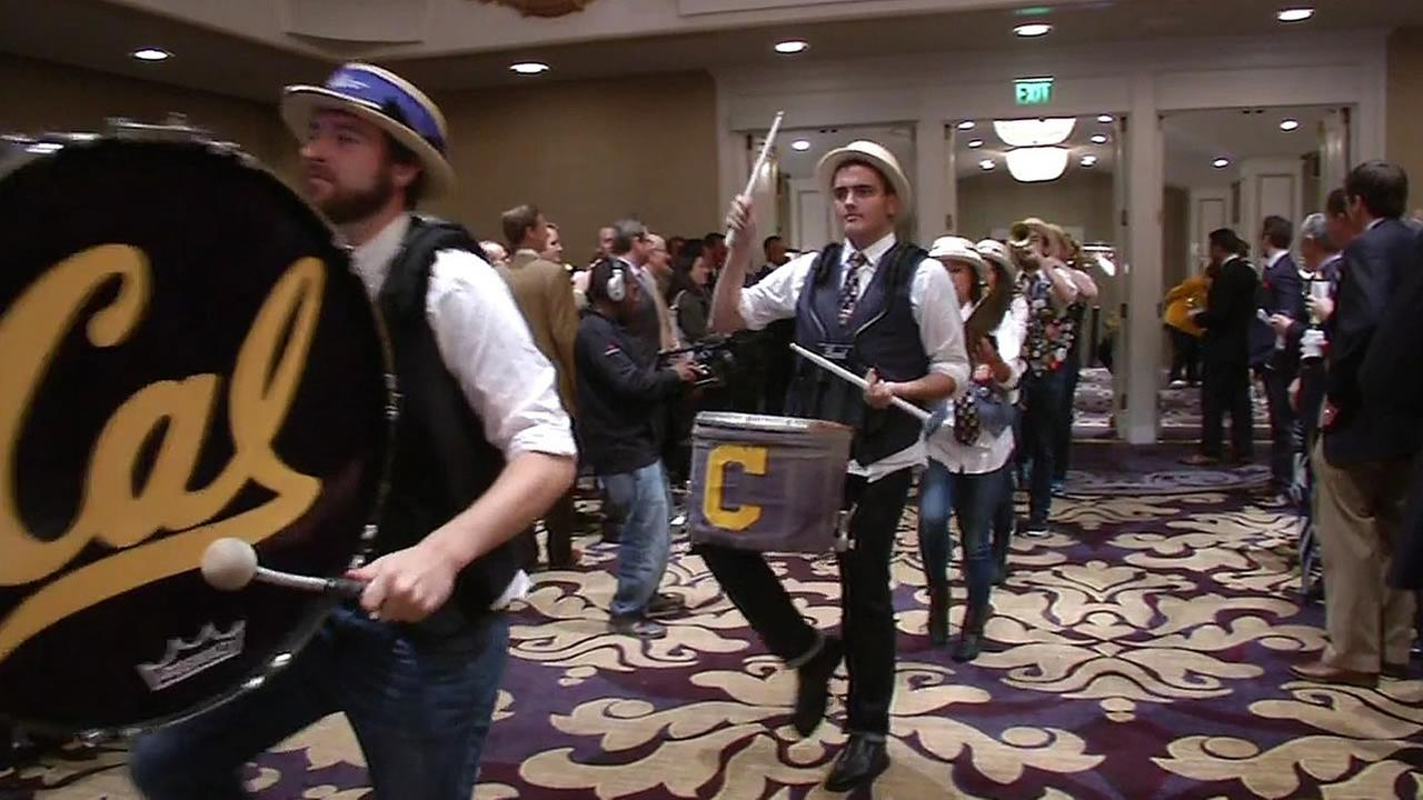 The Cal band plays at the annual Big Game luncheon in San Francisco.
