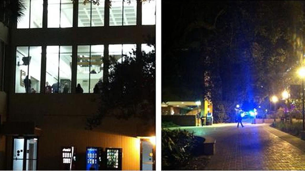 split screen of police on campus