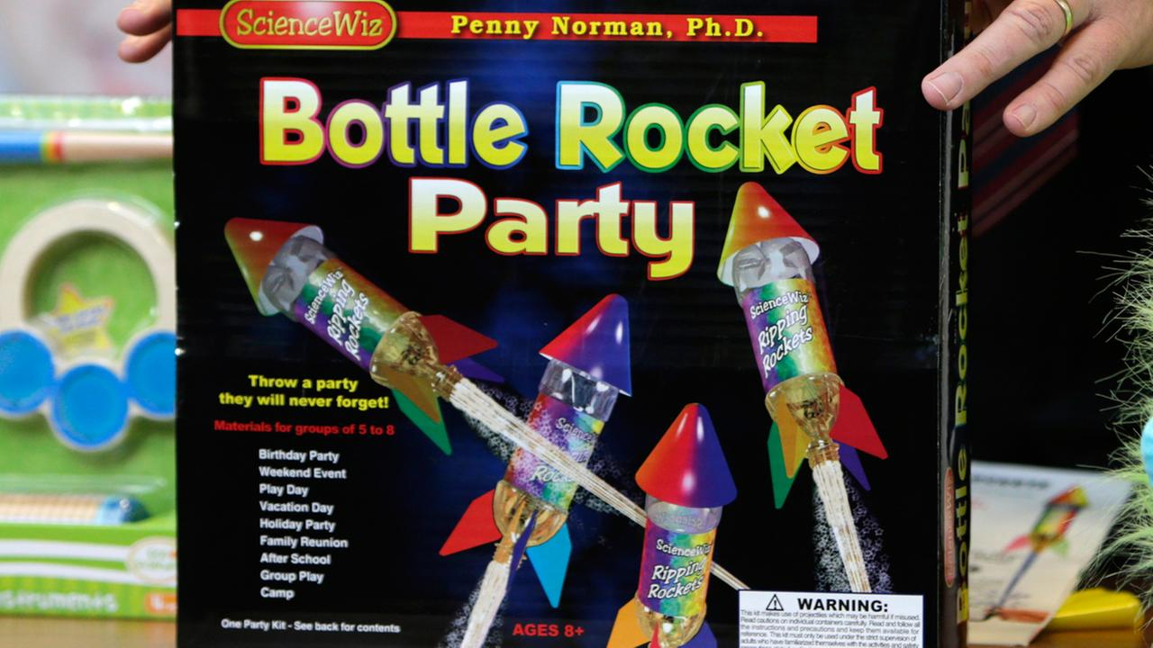 Bottle Rocket Party, which made the annual list of worst toys, at Franciscan Hospital for Children in Boston, Wednesday, Nov. 19, 2014.