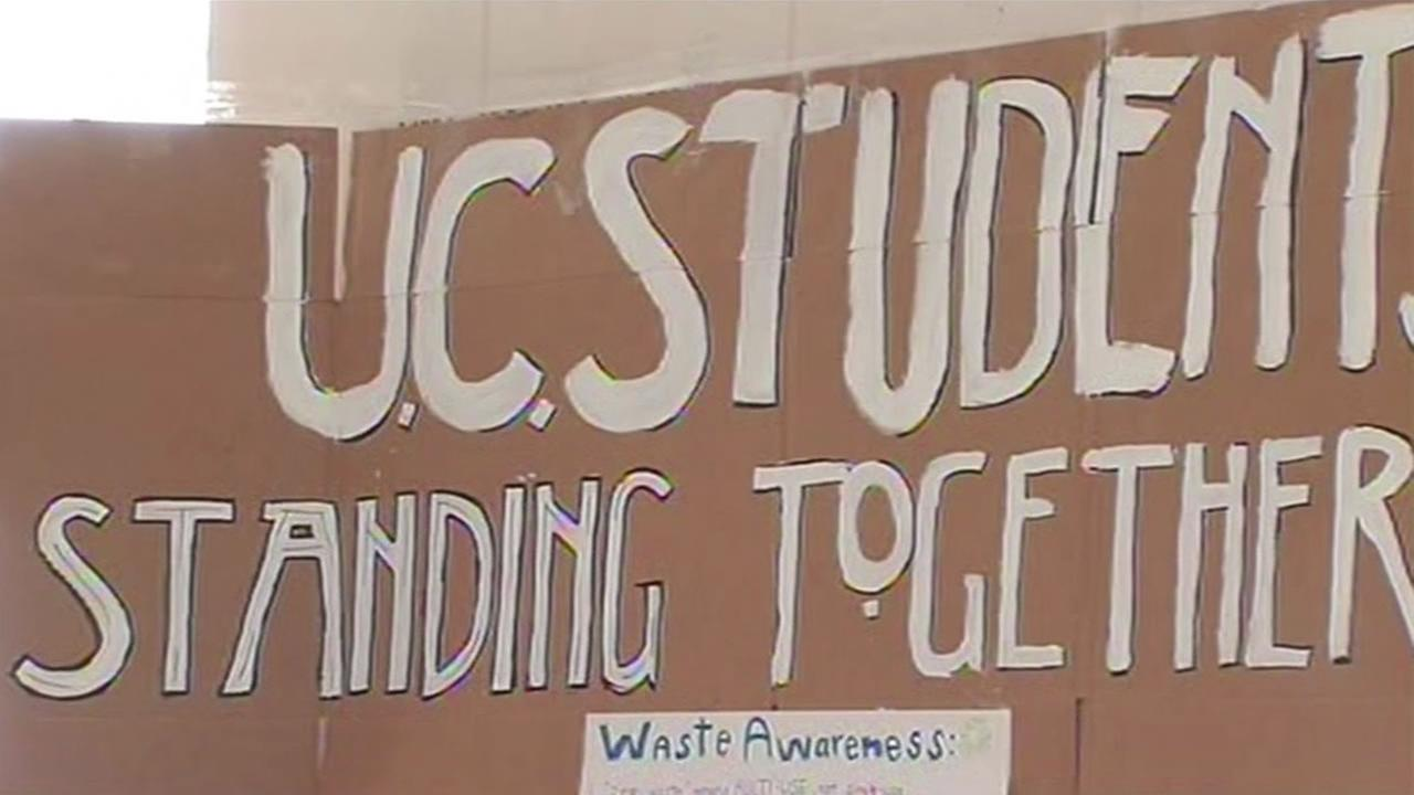 Sign hangs in UC Berkeleys Wheeler Hall, where students are protesting a tuition hike approved by university regents.