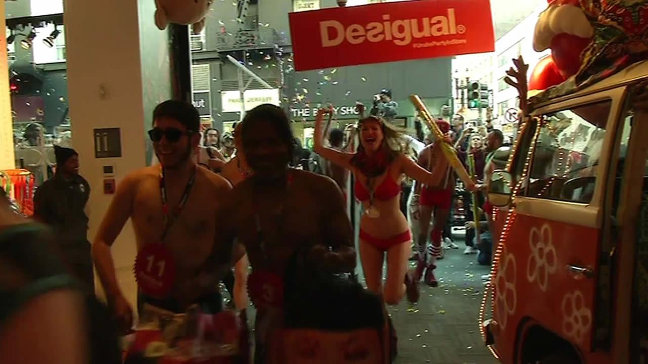 Shoppers strip down to their undies to get a deal at Desigual in San Francisco.